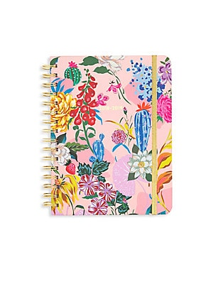 Image of A bright floral hardcover planner with color-coded month tabs and sticker pages for you to mark all your special to-dos! 340 100 gsm wood-free paper pages 13-month calendar format Double-sided pocket page Three sticker pages One virtual reality page One c