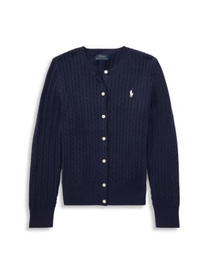 Ralph Lauren Girl S Cable Knit Cotton Cardigan