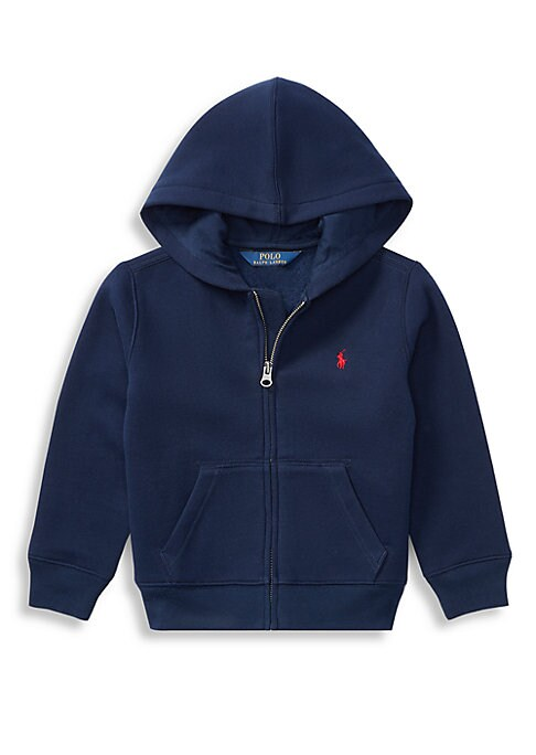 Image of This cozy full-zip hoodie is crafted from soft cotton-blend fleece and accented with Ralph Lauren's signature embroidered pony. .Attached hood. .Long sleeves with ribbed cuffs. .Zip-up closure. .Split kangaroo pocket. .Cotton/polyester. .Machine wash. .Im