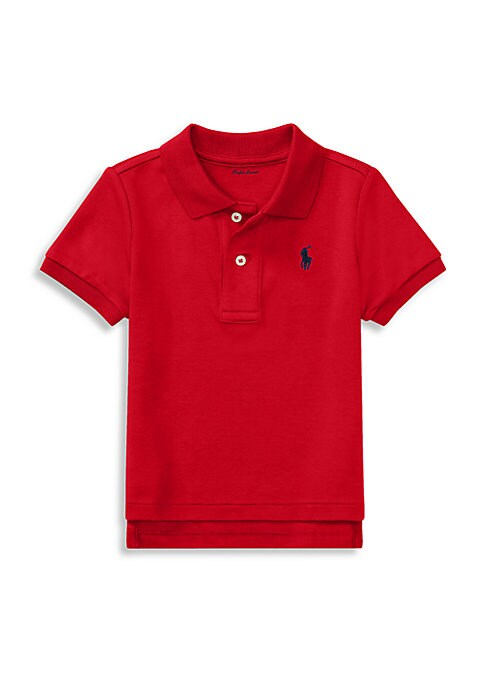 Image of This version of the iconic Polo shirt is made from soft cotton interlock and accented with the signature embroidered pony. Two-button placket. Short sleeves. Ribbed cuffs. Polo embroidery at chest. Tennis tail. Cotton. Machine wash. Imported.