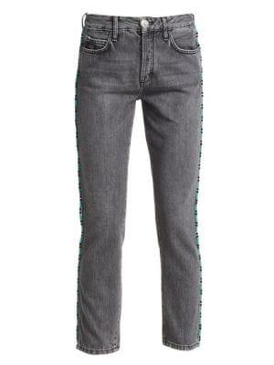 Fringe-Beads Flared-Leg Jeans in Silver Lake Wash