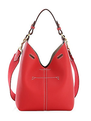 """Image of Chic open top grained leather bag with removable strap. Top handle Open top Goldtone hardware Interior open compartment Lining: polyamid/polyurethane Leather Made in Italy SIZE 7.5""""W x 8""""H x 4.5""""D. Handbags - Advanced Designer Handba > Saks Fifth Avenue."""