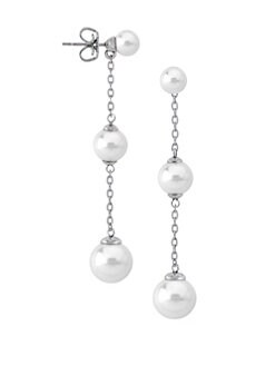 150c64e12 Majorica. Sterling Silver and 6MM-10MM White Pearl Linear Drop Earrings