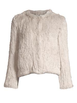H BRAND Elle Rabbit Fur Jacket in Ash