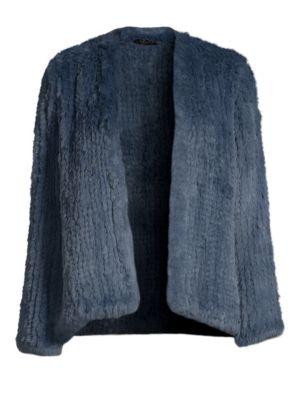 H BRAND Elle Rabbit-Fur Jacket in Denim Blue