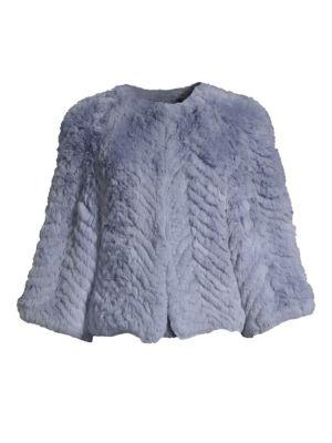 H BRAND Jagger Chevron Rabbit Fur Jacket in Sky Blue