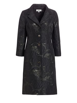 TERI JON BY RICKIE FREEMAN Floral Jacquard Button-Front Coat in Pewter