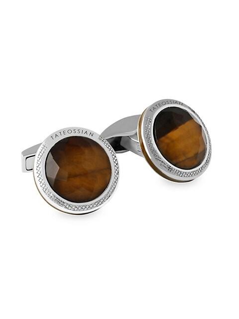 Doppione Round Tiger's Eye & Rock Crystal Cufflinks