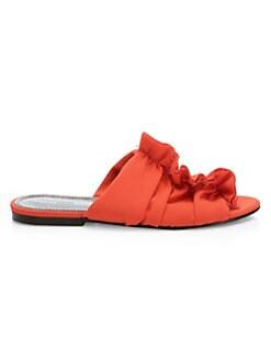 8640796a95ac Slides   Mules. Proenza Schouler - Frayed Crepe Flat Sandals