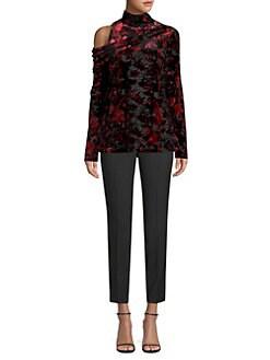 c0daf714e6fe48 Donna Karan New York - Burnout Velvet Turtleneck Top