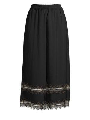 Donna Karan  Lace-Trimmed Culottes