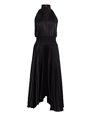 Image of Beautiful long sleeveless dress with shirred mockneck and banded waist in lightweight drapey eye-catching pleats. Mockneck Sleeveless Back button closure Shirred banded waist Pleats High-low hem Polyester Dry clean Imported SIZE & FIT Relaxed fit About 47