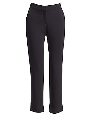 "Image of Classic tailored straight-leg trousers updated with subtle side slit accents. Banded waist Side slash pockets Zip fly with hook & eye closure Split hem Back welt pockets Viscose/elastane Dry clean Imported SIZE & FIT Tailored fit Rise, about 10"" Inseam, a"