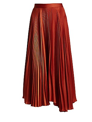"""Image of Beautiful long pleated midi skirt in lightweight fabric. Banded waist Back zip hook and eye closure Long pleats Polyester Dry clean Imported SIZE & FIT Midi skirt About 33"""" from shoulder to hem Model shown is 5'10"""" (177cm) wearing US size 4. Contemporary"""