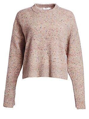 """Image of Cozy speckled sweater knit from a luxurious lambswool and cashmere blend Crewneck Long sleeves Lambswool/cashmere/nylon Dry clean Imported of Italian fabric SIZE & FIT Relaxed fit About 21"""" from shoulder to hem Model shown is 5'10 (177cm) wearing US size"""