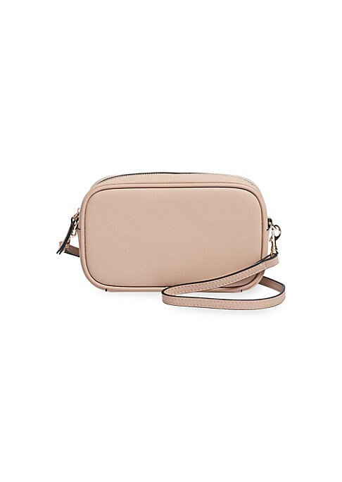 Image of Mini crossbody bag cut from rich Saffiano leather boasts removable strap for a personalized fit. Top zip closure. One exterior open back pocket. Three interior open pockets. Goldtone hardware. Lined. Includes dust bag. Leather. Wipe clean. Imported. SIZE.