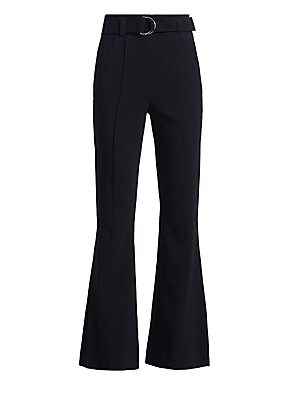 "Image of A pair of on-trend flare trousers accentuated with a belted waistline and pintucked details running down both legs. Belt loops Adjustable belted waist Front slant pockets Back welt pockets Viscose/elastane Dry clean Imported SIZE & FIT Rise, about 13"" Ins"
