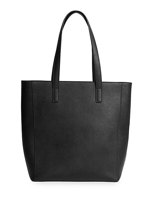 "Image of Timeless tote in rich Saffiano leather includes removable pouch. Top zip closure. Open compartment. One interior zip pocket. Goldtone hardware. Lined. Includes dust bag. Leather. Wipe clean. Imported. SIZE. Double top handles, 52""-55"" drop.11""W x 13""H x 5"