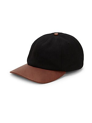 """Image of Wool blend baseball cap with leather brim. Adjustable back strap Wool/leather/polyester Dry clean Made in Canada SIZE Brim width, 7.5"""". Men Accessories - Cold Weather Accessories. Crown Cap. Color: Black."""