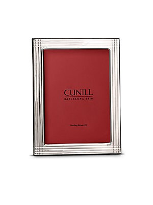 "Image of Sophisticated sterling silver frame with embossed stripe design .925 Sterling Silver Mahogany wood back Dry clean with a cloth Made in Italy Includes Red Cunill Luxury Gift Box SIZE 4 x 6 Frame: 8"" x 6"" x 1"" 5 x 7 Frame: 9"" x 7"" x 1"" . 8 x 10 Frame"" 12"" x"