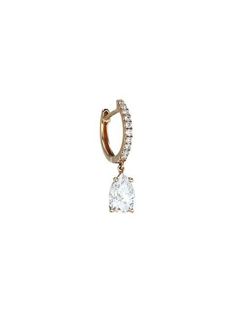 18K Rose Gold & Diamond Drop Pavé Huggie Single Earring