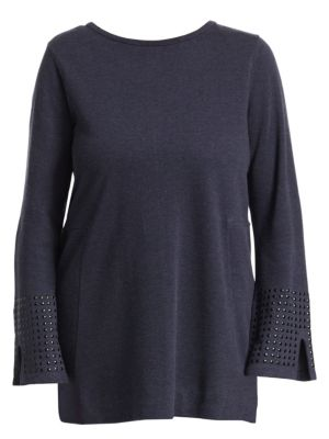 NIC+ZOE PLUS Studded Cuff Top in Dark Indigo