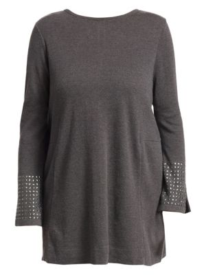 NIC+ZOE PLUS Studded Cuff Top in Graphite