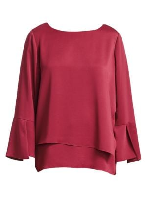 NIC+ZOE PLUS Wrapped Up Tiered Bell Sleeve Top in Currant