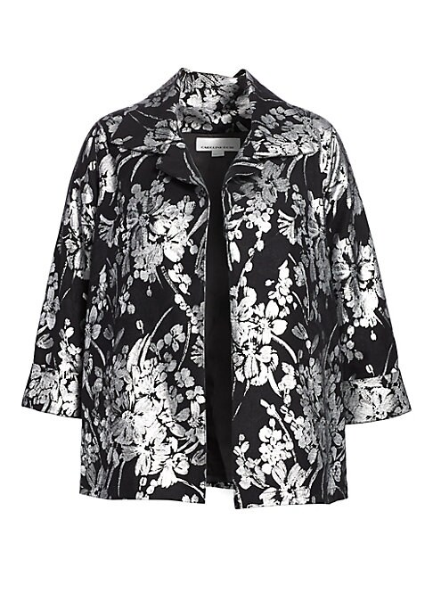 """Image of Dazzling floral topper with metallic finish. Spread collar. Three-quarter sleeves. Open front. Lined. Cotton/polyester. Dry clean. Made in USA. SIZE & FIT. About 29"""" from shoulder to hem."""