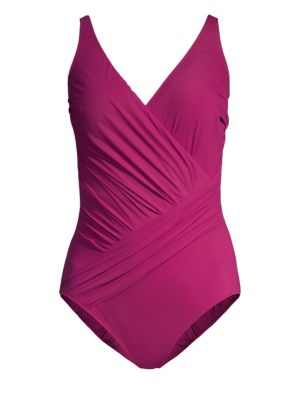 GOTTEX SWIM Ruched One-Piece Swimsuit in Wine