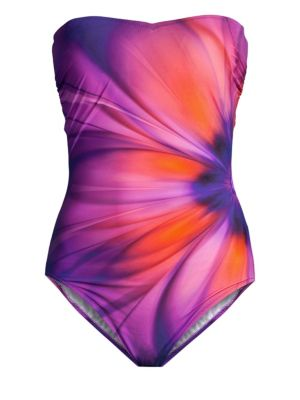 GOTTEX SWIM Gathered Bandeau One-Piece in Multi Purple