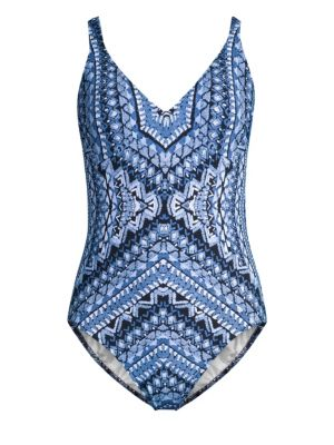 GOTTEX SWIM Printed Crochet Back One-Piece in Multi