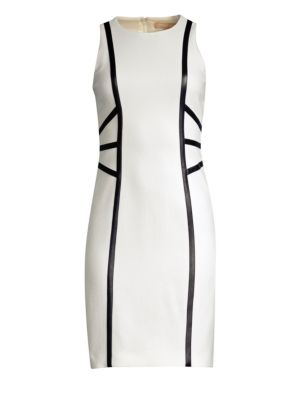 MICHAEL KORS Sleeveless Stretch-Boucle Crepe Dress W/ Leather Trim in White