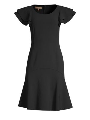 Flutter-Sleeve Scoop-Neck Stretch-Wool Crepe Dress in Black