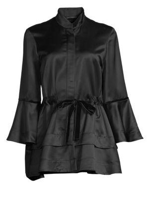 Satin Peplum Topper Jacket, Black