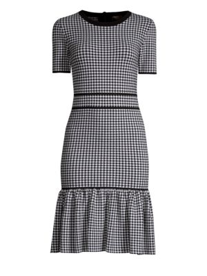 Crewneck Short-Sleeve Gingham Check Dress W/ Flounce in Black