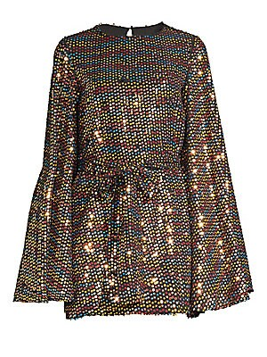 "Image of A dazzling array of shimmering sequins adorns this voluminous mini dress. Roundneck Long bell sleeves Back hook & eye closure Self-tie belt Polyester Dry clean Made in USA SIZE & FIT About 32"" from shoulder to hem Model shown is 5'10"" (177cm) wearing US s"