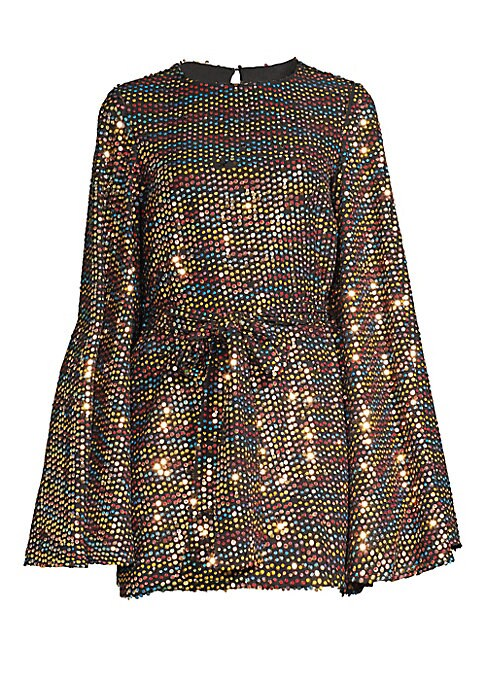 "Image of A dazzling array of shimmering sequins adorns this voluminous mini dress. Roundneck. Long bell sleeves. Back hook & eye closure. Self-tie belt. Polyester. Dry clean. Made in USA. SIZE & FIT. About 32"" from shoulder to hem. Model shown is 5'10"" (177cm) wea"