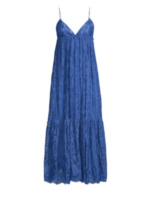 Ruffled Cotton-Blend Lace Midi Dress in Blue