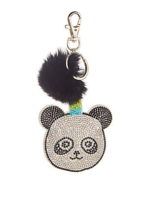 Image of A panda-unicorn hybrid embellished with crystals and rabbit fur adorns this playful key chain. Silvertone hardware Metal/crystal Fur type: Dyed rabbit Fur origin: China Dry clean by fur specialist Made in USA. Children's Wear - Infant Toys And Gifts. Bari