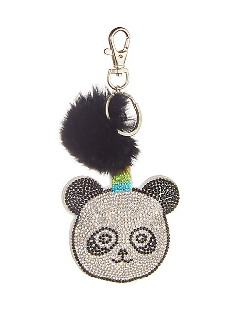 Image of A panda-unicorn hybrid embellished with crystals and rabbit fur adorns this playful key chain. Silvertone hardware. Metal/crystal. Fur type: Dyed rabbit. Fur origin: China. Dry clean by fur specialist. Made in USA.
