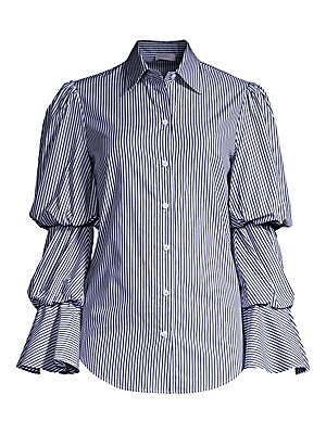 """Image of ONLY AT SAKS. Statement blouse with eye-catching puff sleeves finished in traditional stripes. Spread collar Long tiered puff sleeves Button front Cotton Dry clean Made in USA SIZE & FIT About 26"""" from shoulder to hem Model shown is 5'10 (177cm) wearing U"""