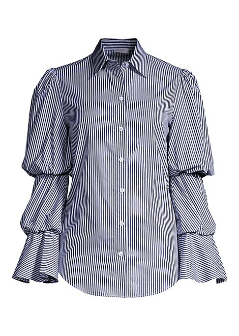 """Image of EXCLUSIVELY AT SAKS FIFTH AVENUE. Statement blouse with eye-catching puff sleeves finished in traditional stripes. Spread collar. Long tiered puff sleeves. Button front. Cotton. Dry clean. Made in USA. SIZE & FIT. About 26"""" from shoulder to hem. Model sho"""