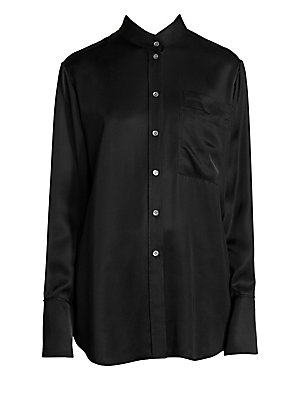 Image of A chic button-down blouse cut in a fluid satin-finish construction for a relaxed look. Unexpected styling adds a unique twist to this top that offers a workwear-appropriate take on pajama dressing. Stand collar Long sleeves Button front Button barrel cuff