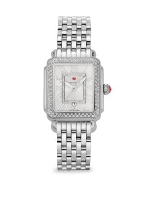 MICHELE WATCHES Deco Madison Mid Stainless-Steel Diamond Bracelet Watch in Silver