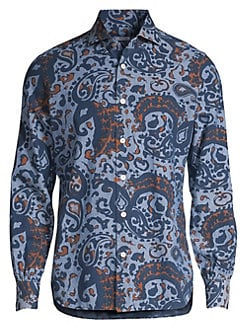 69068bc25 Kiton. Paisley Button-Down Cotton Shirt