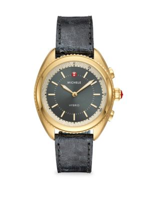 MICHELE WATCHES Gold-Plated Shadow Grey Dial & Shadow Grey Ostrich Hybrid Smartwatch in Black