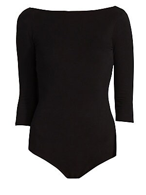 Image of An elegant three-quarter sleeve bodysuit with an unexpected ultra low-cut back for added interest. Constructed of comfortable stretch cotton, this piece is perfect for layering or it can be worn on its own. Bateauneck Three-quarter sleeves Pull-on style V
