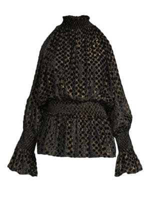 ROCOCO SAND Dotted Cold-Shoulder Popover Top in Black