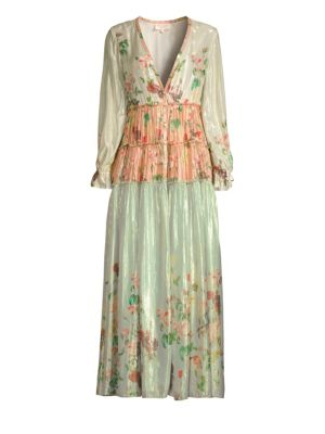 ROCOCO SAND Tiered Iridescent Peasant Long Dress in Multicolor